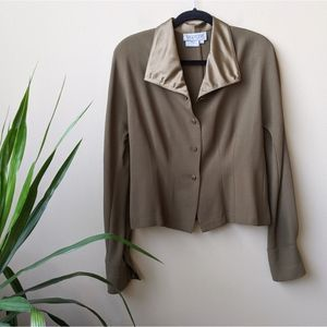 Worth Button Front Cuff Foldover Collar Jacket 10
